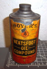 Vintage Boyers Neatsfoot Oil compound cone top tin, paper label, great graphics