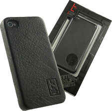 NEW LIMITED LUXURY HARD CASE WITH GENUINE BLACK LEATHER FOR APPLE iPHONE 4S 4