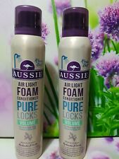 AUSSIE AIR LIGHT FOAM CONDITIONER PURE LOCK VOLUME FOR FINE HAIR 3 X 180ML
