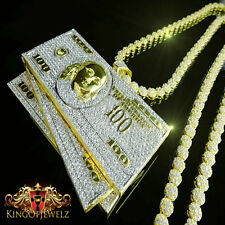 Mens Yellow Gold Finish 100 Dollar Bill Cash Money Pendant Charm + Flower Chain