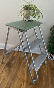 Vintage Retro Industrial Style Aluminum Folding Steps Ladders Green Vinyl Seat