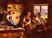 Oil painting Emil Rau - kitchen conversation farmer's party with little dog art