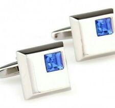 Blue Diamond Silver Cufflinks