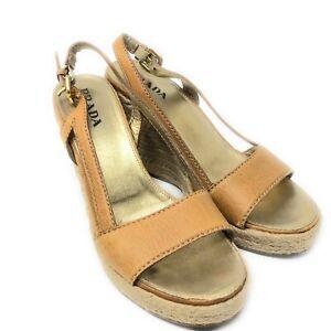 Prada Espadrille Wedge Sandal Brown Leather Women 37