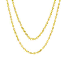 "10K Yellow Gold 4mm Italy Rope Chain Hollow Diamond Cut Pendant Necklace 16""-30"""