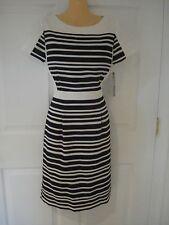 Tahari ASL Black/White Stripe Short Sleeve Wear to Work Shift Dress Sz 6