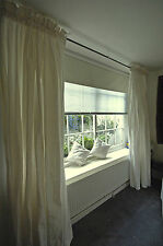 """Rod Top Ivory Pure Silk Dupioni Curtains, 100"""" W X 108"""" L with Blackout Lining"""