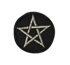 2 INCH Pentagram Satan Silver Embroidered Iron On Patch FD