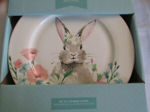 CIROA BUNNY FLORAL SPRING DINNER PLATES RABBIT EASTER Set of 4