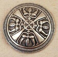 1941 Kalevala Koru Finland Scandinavian Silver Heavy Viking Shield Pin/Brooch