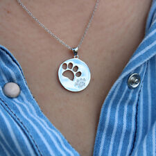Cz stone paw print pendant N05 sterling silver 925 Dog Paw necklace With