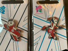 Two London 2012 Olympic Pin Badges Team GB Union Jack Mascot Wenlock Mandeville