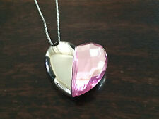 4GB  Heart Shaped Pink Silver Costume Jewellery USB Flash Drive