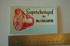 "VINTAGE NOS WATER TRANSFER DECAL ""McCulloch Supercharger"""