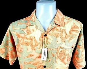 "TOMMY BAHAMA Mens 100% Silk Pale Orange HAWAIIAN S/S SHIRT - S - Chest 40"" - £89"