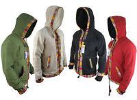 Hippy Festival Baja Cotton Boho Fleece Lined Zip Winter Ethnic Hoodie Jacket