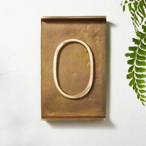 Crate & Barrel CB2 Rough Cast Brass House Number 0 #0 Zero Address # - NWT