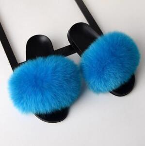 Luxury Lady Fluffy Real Fox/Raccoon Fur Sandal Shoes Women Flat Slides Slippers