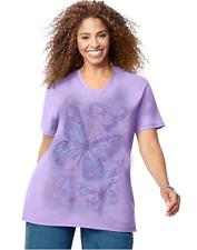 New Women's JMS Just My Size Butterflies Short Sleeve Purple Graphic T-Shirt 3X
