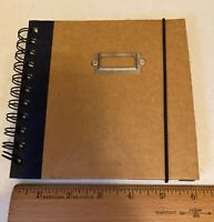 """Martin Design Hard Cover Journal Wire Ring Binding 6"""" x 6."""" Elastic Strap 74 pgs"""
