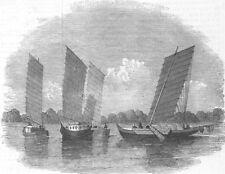 CHINA. Boats of Hermes, Yang-Tse-Kiang River, antique print, 1853