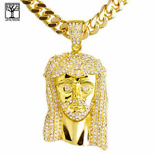 """Rapper Gold Plated Iced Jesus Pendant 30"""" Heavy Cuban Chain Necklace HC 6002 G"""