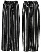 Ladies Palazzo Striped Trousers Wide Leg Stretch Baggy Belt Elasticated Womens