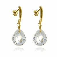 9ct Gold Bar & Faceted CZ Pear Crystal Drop Stud Earrings / Studs / Dangly
