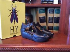 Fly London BODA633Fly Leather Wedge Women's Size 40 US 9.5 Shoes Rug Black