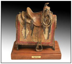 David Argyle Full Round Bronze Sculpture Signed California Saddle Western Art