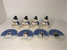 St Nicholas Square Button Up Snowman Coaster & Snowman Napkin Holder