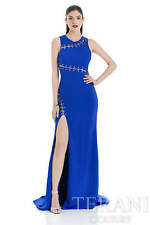 TERANI COUTURE High Slit Cobalt Open Back Gown Size 2 Formal Wedding Prom