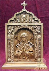 """15"""" Mother Of God Seven Arrows Wooden Carved Icon Religious Icon Gift"""