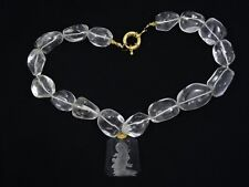 HEAVY FACETED NUGGET ROCK CRYSTAL QUARTZ NECKLACE with ETCHED KWAN YIN PENDANT