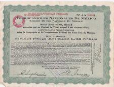 T91 ACTION Chemin de Fer Nationaux du MEXIQUE Série B Bons a 6 % 1914 MEXICO