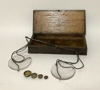 Antique Victorian Small Travelling Apothecary Scales Weights in Original Box
