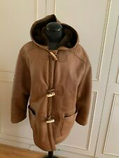 Celtiic sheepskin real shearling duffle hood unisex jacket coat M UK12 EU40US10
