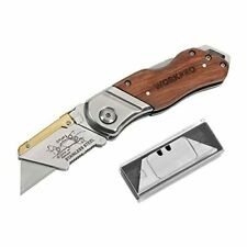 WORKPRO Folding Utility Knife Wood Handle Heavy Duty Cutter with Extra 10-piece