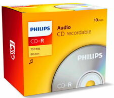 10 Philips Rohlinge CD-R Audio 80 Minuten Musik Jewelcase