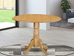 "Dublin Drop-leaf 42"" Round Pedestal Kitchen Dining Table- Oak"