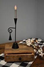 Primitive Early American Colonial Black Metal ADAMS CANDLESTICK and SNUFFER