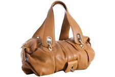 GUSTTO HANDBAG PARISIO EAST WEST SATCHEL COGNAC TAN LEATHER BAG $450
