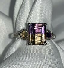 Ametrine, amethyst, and citrine ring! Over 3 carats! 925 sterling silver