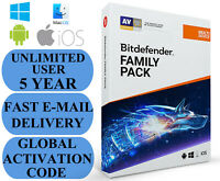 Bitdefender Family Pack UNLIMITED USER 5 YEAR + FREE VPN GLOBAL CODE 2020