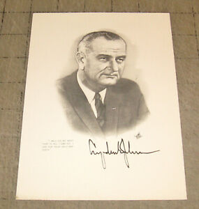 "1960s? LBJ Lyndon Johnson ""I will do my best..."" Ink Art Promotional 5 x 7"" Card"