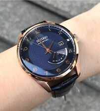 SRN062P1 Neo Classic Kinetic Blue & Rose Gold Dial Black Leather Watch for Men