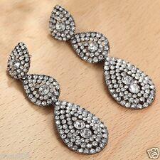 Long Ear Stud Hoop earrings 115 Wholesale 1pair Woman's White Crystal Rhinestone