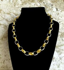 10mm Width Gold Silver Color Stainless Steel Elipse Link Chain Necklace Jewelry