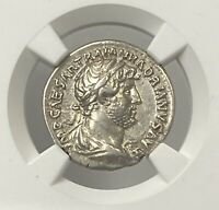 Roman Empire Hadrian AD 117-138 Silver Denarius NGC XF Emperor Holding Spear PQ+