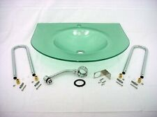 New Decolav Green Frosted Non-Tempered 12mm Glass Wall Mount Vanity Sink